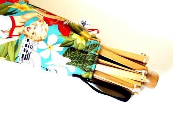 SALE - Free Shipping - Umbrella Yarn Swift Cover Yarn Winder Drawstring Padded Bag - California Girl - Pin Up