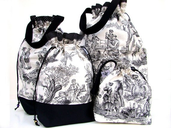 Knitting Gift Set -  NEW Knitting Bag Crochet Project Bag Drawstring WIP - Set of 4 Bags - Day of the Dead Toile