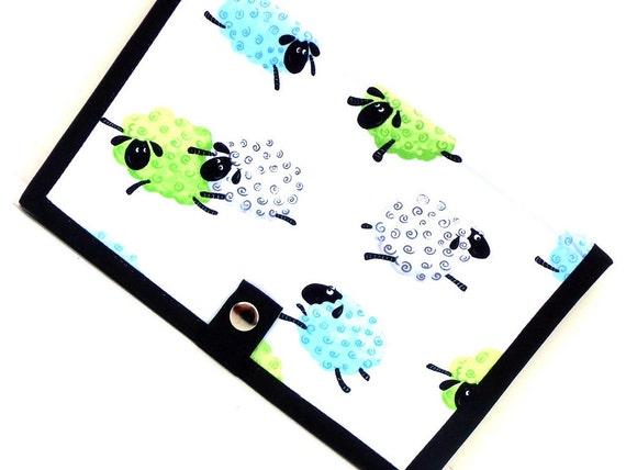 Knitting Pattern Holder Wallet Pattern Keeper Knitting Crochet with Extender- Green Blue Lewe Sheep