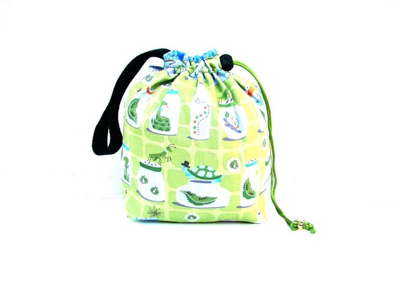 Sock Knitting Bag Drawstring Project Bag Hexipuff Small Wip Bag Crochet Supplies  -Summer Days Bug Jars Green Blue