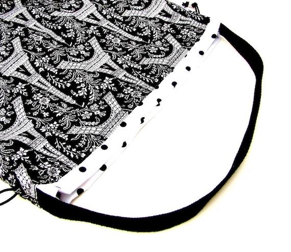 Large Knitting Project Bag Crochet Drawstring Tote WIP Bag  -Black Eiffel Tower Paris France