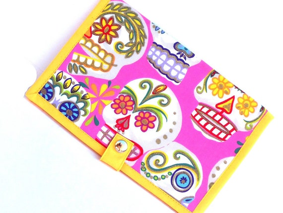 Pattern Wallet Knitting Pattern Keeper Supplies - Pink Sugar Skull Calavareas Day of the Dead