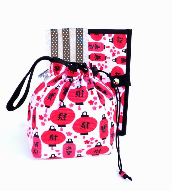 Knitting Gift Set - NEW Knitting Bag Crochet Project Bag Drawstring WIP & Wallet and Magnets - Set of 3- Chinese Lantern