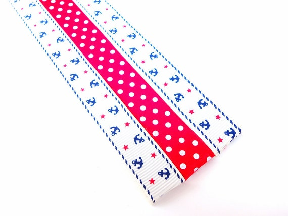 Magnet Bookmark - Pattern Keeper - 3 - Retro Anchor Nautical Sailing boat Red and Navy Blue