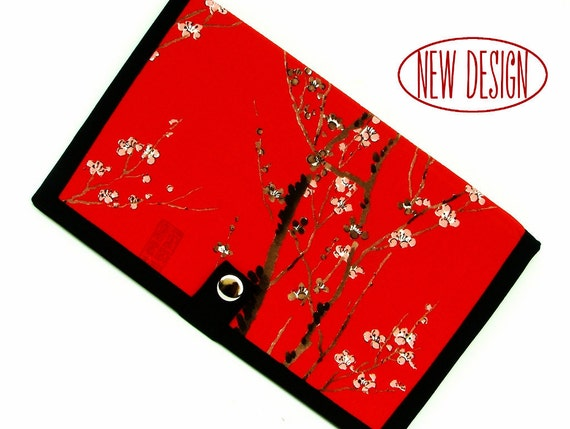 NEW Knitting Pattern Holder -mi Pattern Wallet Supplies Chart Keeper with Extendor - Asian Japanese Red Cherry Blossom