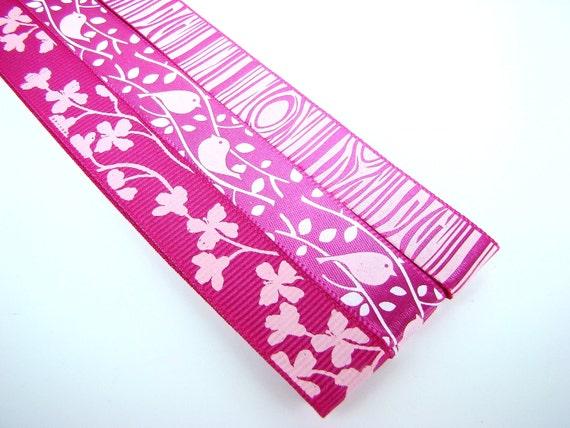 Pattern Magnet - Pattern Keeper Magnet Bookmark - Knitting Crochet Supplies - Set of 3 - Pink Bird Branch