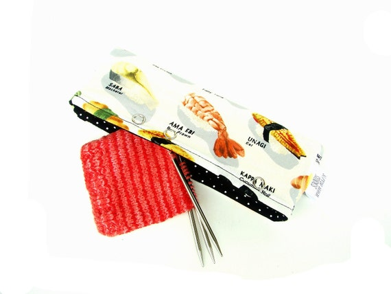 Stitch Holder Point Protector Zipper Pouch - DPN & Circular Project Holder - Sushi