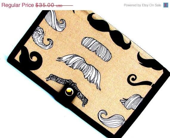 SUPER SALE - Knitting Crochet Pattern Wallet Keeper - Mustache, Must Stash