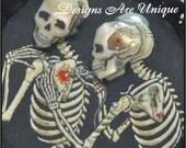 3D Skeletons giving heart tattoo bottle cap necklace