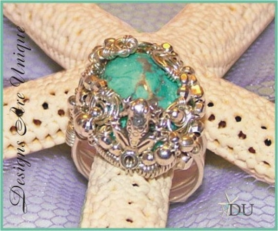OOAK Ring - Wire wrapped sterling silver ring with frog and turquoise cab