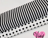 2 Yards : Black White Stripe Polka Dot Robert Kaufman Quilt Cotton Fabric Bundle Kit