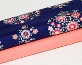 2 Yards : Amy Butler Love Memento Navy Mod Floral Mango Solid Designer Quilt Cotton Fabric Bundle Kit