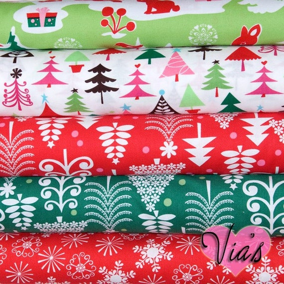 Michael Miller Funky Christmas Trees Snowflakes Deer - FAT QUARTER BUNDLE Quilt Fabric