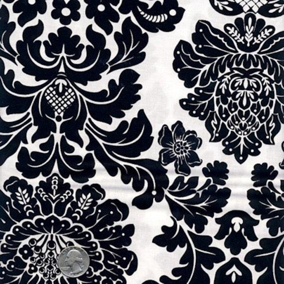 """END OF BOLT : 27"""" Michael Miller -  Rouge et Noir Damask cx4403-Ebony Black White Retro Paris  Fabric - By The 1/2 Yard"""