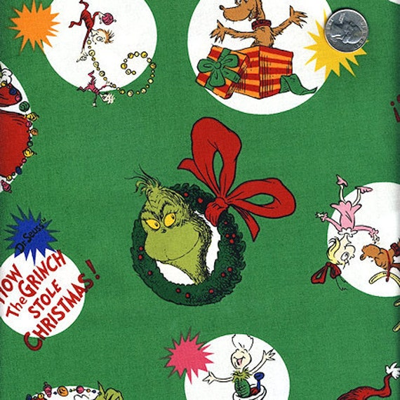 SALE. . .  1 YardHow The Grinch Stole Christmas : GREEN Tossed Characters  Cindy Lou Who Designer Quilt Cotton Fabric