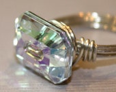 Iridescent Ice Ring - sterlng silver wire - iridescent button bead - any size 2 3 4 5 6 7 8 9 10 11 12 13