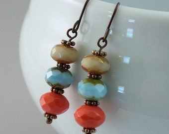 Ready To Ship - Cozumel Earrings - picasso finish beads - copper wire