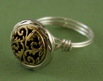 Two-tone Treasure - your choice of wire - filigree button bead - any size 4 5 6 7 8 9 10 11 12 13 14 - custom sizing - wire wrapped jewelry