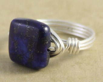 Wild Blue Yonder Ring (petite bead) - sterling silver wire - lapis bead