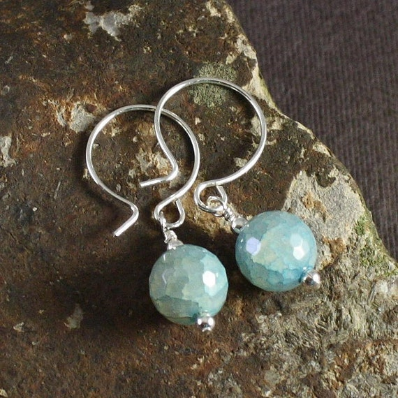 Aqua Drop Earrings - sterling filled wire and ear hooks - aqua agate beads - READY TO SHIP