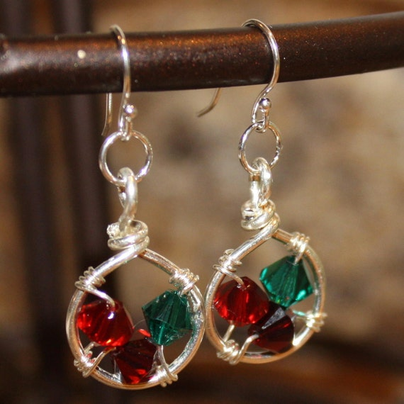 Family Nest Earrings - sterling silver - Swarovski birthstones - custom handmade wire wrapped jewelry