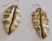Form Folded Brass Leaf Earrings