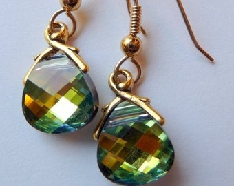 Light Green-Gold Briolette Earrings