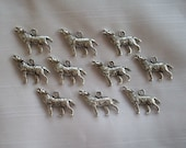 Wolf Charms- ten charms- antique silver charms