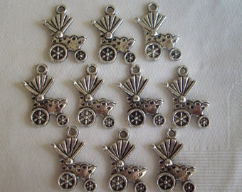 Baby Buggy Charms- ten charms- antique silver charms