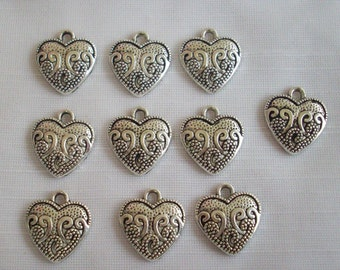 Heart With Scrolls charms- ten charms- antique silver charms