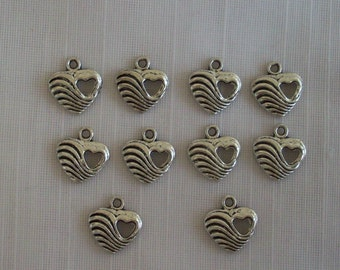 Wavy Heart Charms- ten charms- antique silver charms