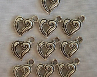 Heart Charms- ten charms- antique silver charms