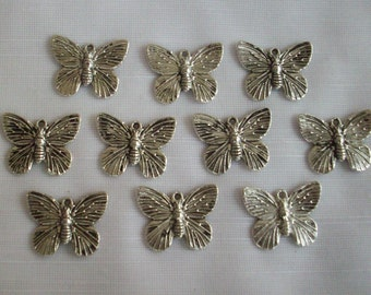 Realistic Butterfly charms- ten charms- antique silver charms