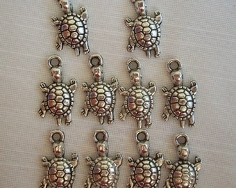 Turtle Charms- ten charms- antique silver charms