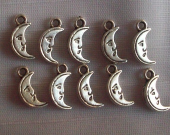 Man In the Moon Charms- ten charms- antique silver charms