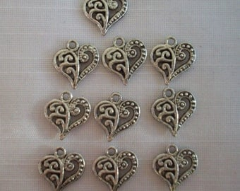 Swirly Heart Charms- ten charms- antique silver charms