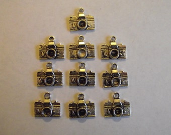 Medium Camera charms- ten charms- antique silver charms