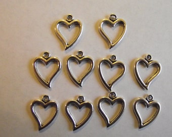 Heart outline charms- ten charms- antique silver charms