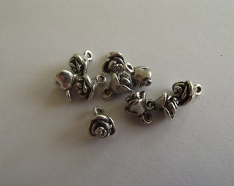 Tiny Rose Charms- ten charms- antique silver charms