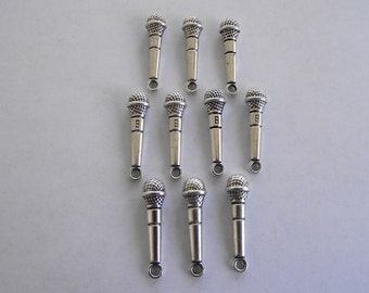 Microphone charms- ten charms- antique silver charms
