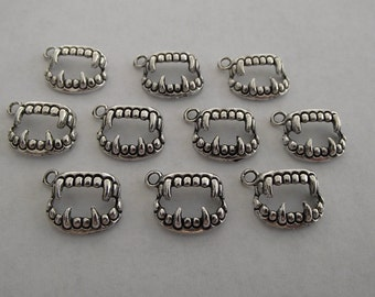 Vampire Teeth Charms- 10 charms- antique silver charms