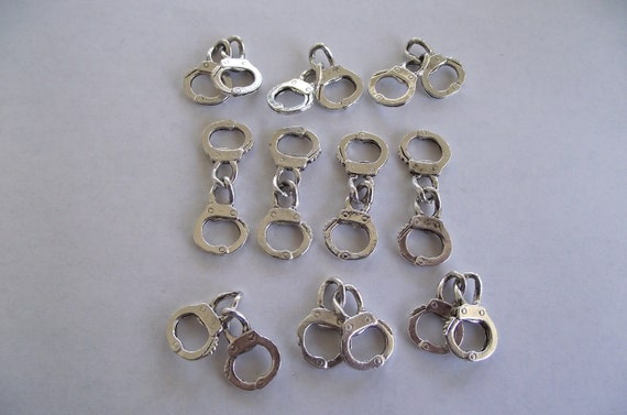 Handcuff Charms- 10 charms- antique silver charms