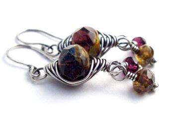 Purple Glass Herringbone Sterling Silver Wire Wrapped Earrings