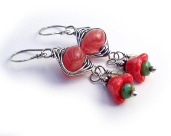 Red Coral Glass Flowers Silver Wire Wrapped Bouquet Earrings