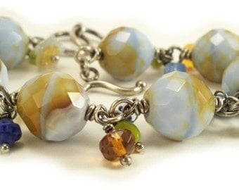 Amber Blue Faceted Glass Drop Sterling Wire Wrapped Bracelet
