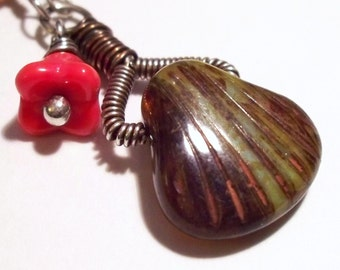 Brown Glass Coral Flower and Picasso Shell Wire Wrapped Necklace