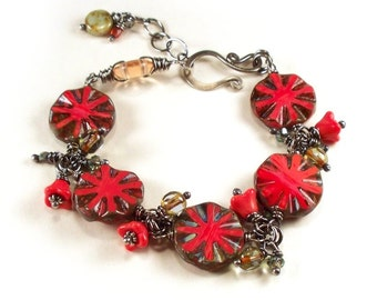 Coral Glass Circles Drop and Sterling Silver Bracelet - FREE SHIP