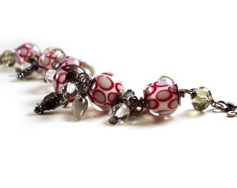 Red Grey Lamp Work Drop Wire Wrapped Metalwork Bracelet - FREE SHIP
