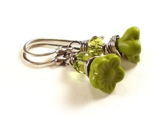 Apple Green Flowers Spring Wire Wrapped Silver Earrings