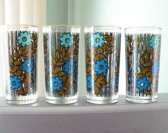 Vintage flowered and striped glasses - Set of 4